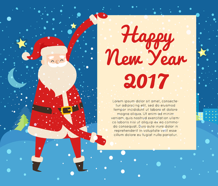 Happy New Year 2017 Postcard from Santa Claus. Banque d'images - 99835260