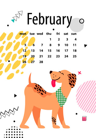 February Page of Calendar Vector Illustration
