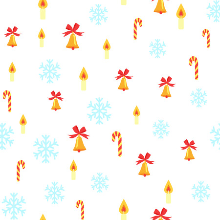 Pattern with Jingle Bells and Snowflakes.