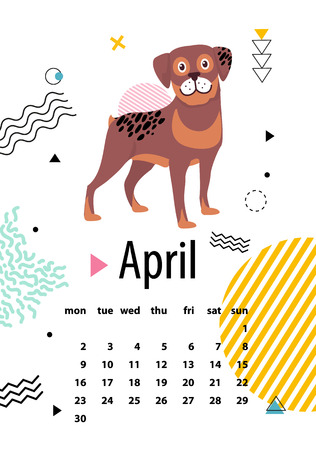 April Calendar for 2018 Year with Loyal Rottweiler.