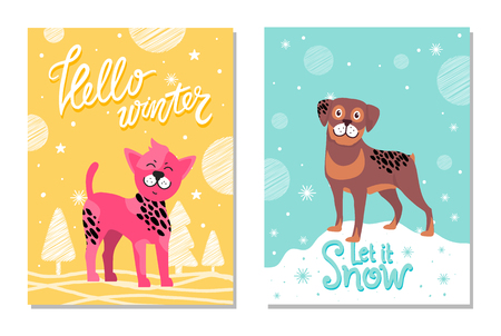 Hello Winter and Let it Snow Posters with Puppies.