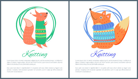 Knitting Sweaters on Funny Toy Fox Squirrel Vector