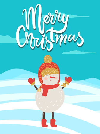 Merry Christmas Poster Congratulation from Snowman