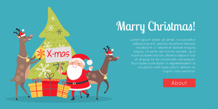 Marry Christmas web banner. Decor and presents with Santa Claus. Deers helpers decorate fir tree. Making presents for children all around world. New Year poster vector illustration in flat style