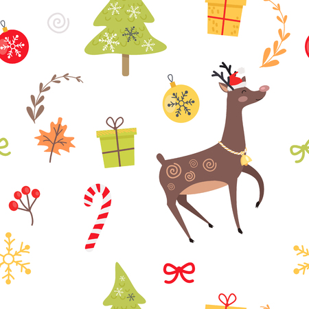 Seamless pattern with reindeer, Christmas decorative candies, viburnum red berries and maple leaves, decorated Christmas tree and presents in gift boxes, balls and bows on white endless vector texture Illustration
