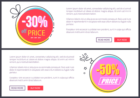 From 30 to 50 discount at Internet shop web pages templates with sample text and bright round discount promo stickers vector illustrations.