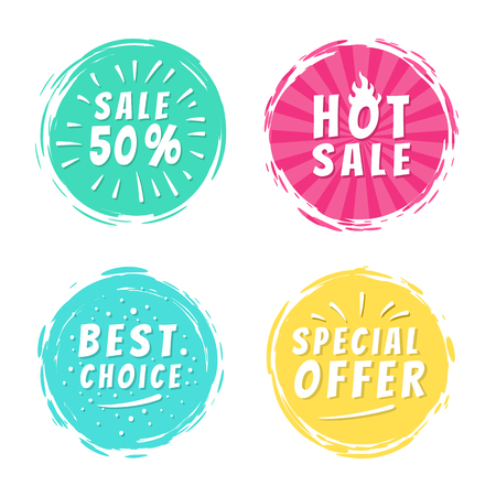 Sale 50 best hot choice special offer promo stickers round labels brush strokes vector illustration stamps with text isolated on white background
