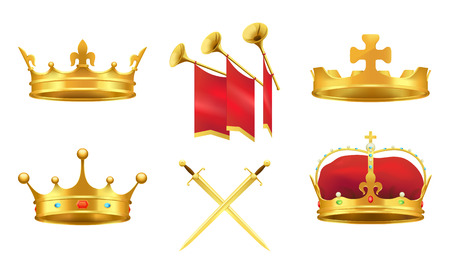 Gold Kings Medieval Attributes Illustrations Set