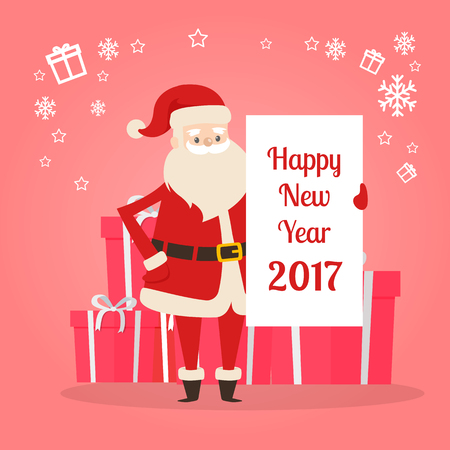 Happy New Year 2017 banner in Santas hand on the background of gift boxes. Cartoon character holds poster with congratulations to wish you Merry Christmas. Big snowflakes and gift silhouettes vector