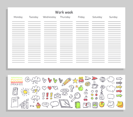 Work Week Daily Plan and Icons Vector Illustration