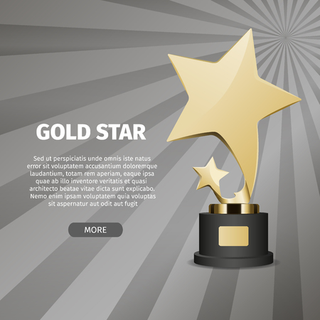 Big shiny gold star on stand on grey background with text. Honorable trophy for first place in competition vector illustration. Çizim