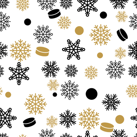 Seamless pattern with gold and black snowflakes and cakes. Winter holiday ornament with fairy snowfall for gift wrapping paper, greeting and invitations cards, printing materials design.