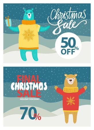 Venta final de Navidad hasta 50-70 de descuento en póster promocional con oso con caja de regalo en suéter de punto con ilustración de vector de copo de nieve en paisaje nevado