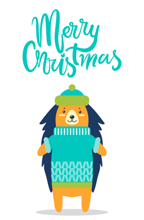 Merry Christmas greeting card with cute hedgehog in warm hat and knitted winter sweater with pattern isolated vector illustration on white background