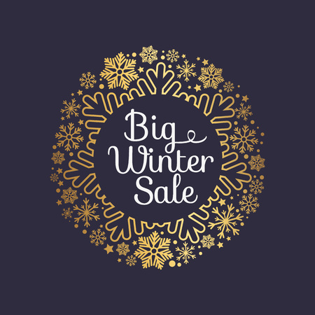 Big winter sale inscription in ornamental frame made of gold snowflakes and decor elements vector illustration banner with text isolated on black