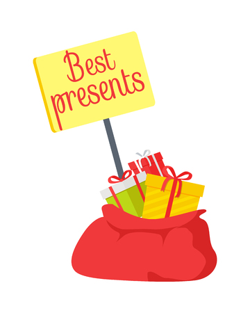 Yellow table of best presents in red sack from Santa Claus on white background. Vector illustration of colourful gifts with ribbon and nice bow for well-behaved children. Christmas element of decor.