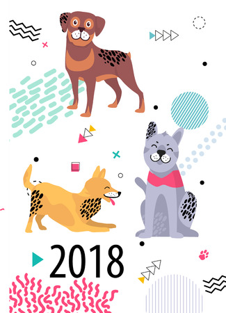 Calendar for 2018 cover with pedigree dogs. Friendly rottweiler, playful fox terrier and calm malamute among geometric shapes vector illustration.