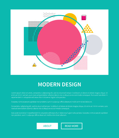 Modern design of mockup of corporate web page with online buttons about and read more vector illustration on green background, booklet or leaflet cover 일러스트