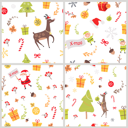 Set of seamless patterns with Christmas elves, Santa Claus wishing Merry Christmas, reindeer Rudolph, decoration elements and fir tree with gift boxes and sale tags near sweet candies endless vector