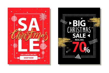 Big Christmas sale 70 , for limited time only, shop now, posters with snowflakes and titles, circles and strokes, isolated on vector illustration Illustration