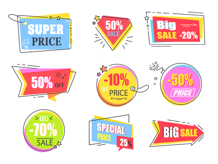 Big Super Sale Promotional Stickers with Stars Set Stock Photo