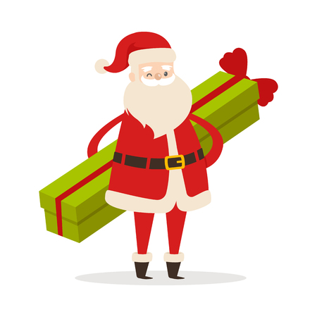 Standing Santa with long green present with red ribbon on white background. He wears red warm coat, trousers, hat and gloves, black boots and wide belt. Man with long white beard vector illustration