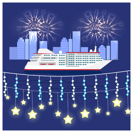 Festival on cruise liner visualization with large ship on water and fireworks on night sky. Vector illustration of boat on city background with buildings Illustration