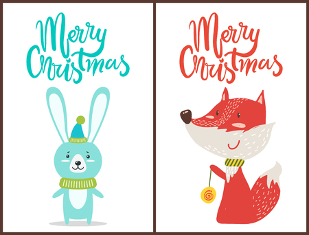 Merry Christmas Congratulation from Cute Animals Stock Photo