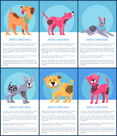Merry Christmas, set of images of dogs of different breed and colors, happy feelings and emotions combined with text sample on vector illustration