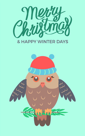 Merry Christmas and happy winter days, poster representing owl sitting on branch of pine and wearing hat vector illustration isolated on green