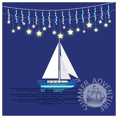 きらめくクリスマスの花輪、ヨット、ロゴデザインのラウンドスタンプ、青のベクターイラストでヨットを旅する夏の冒険  イラスト・ベクター素材