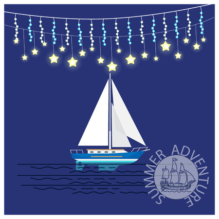 Summer adventures travelling yacht with glittering christmas garlands, sailboat and logo design in round stamp, vector illustration on blue