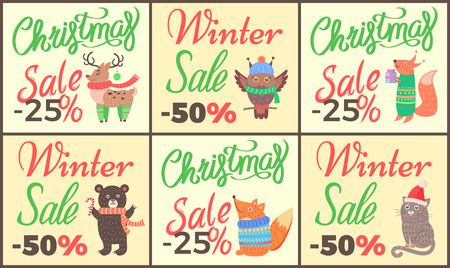 Christmas sale set of posters with titles and images of reindeer, owl and fox with present, bear with candy and cat in hat on vector illustration Illustration