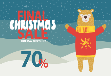 Final Christmas sale holiday discount promotion on snowy background. Vector illustration with special offer with friendly bear dressed in knitted sweater Ilustração
