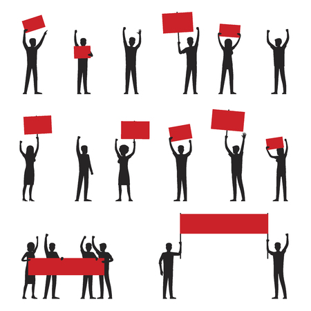 Cartoon adult people silhouettes with red streamers arrange protests isolated vector illustrations on white background.