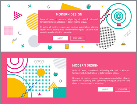 Modern design abstraction, pattern with frame, text sample and buttons, web pages set, border on vector illustration isolated on pink