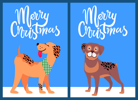 Merry Christmas congratulation from happy pets on light background. Vector illustration with congratulation from happy akita and beagle standing on snow