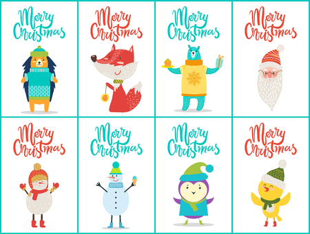 Merry Christmas Placards Set Vector Illustration