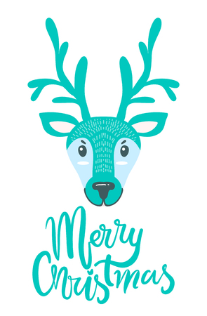 Merry Christmas Greeting Card with Furry Deer