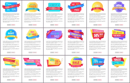 Premium quality price only this week special offer sale big set of posters with text vector web banners and buttons read more buy now isolated on white.