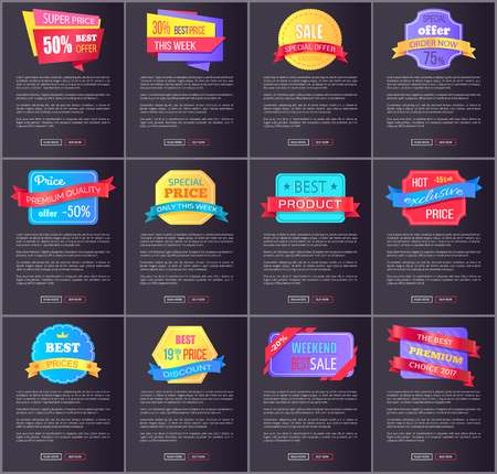 Hot exclusive sale, price premium quality offer total discounts collection of color posters with web buttons vector illustration promo labels on black Illustration