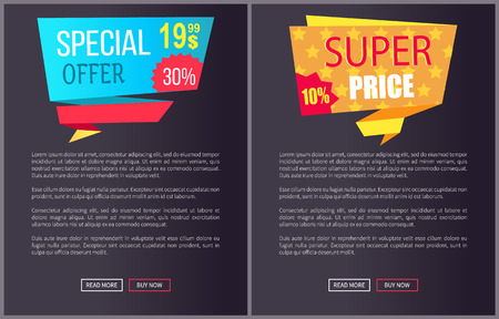Special offer super price advert promo stickers on black posters with text vector web banners with buttons read more buy now isolated on dark background