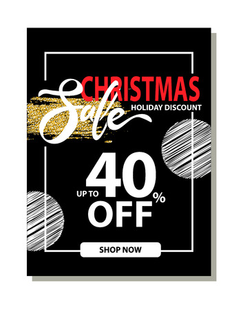 Final Christmas sale holiday discount poster with special offer clearance on dark background. Vector illustration with up to 40 off sale promotion Çizim