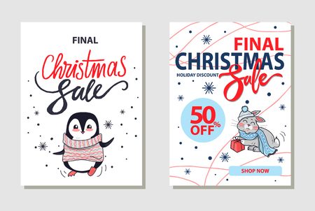 Discount Christmas Sale on Vector Illustration