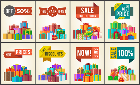 Set of promo posters with advertisement stickers informing about discounts and piles of present boxes full of surprises vector isolated on white