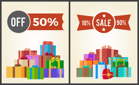 Off 50 sale from 10 to 90 set promo labels on advertisement posters with heaps of present gift boxes vector illustrations isolated on white background