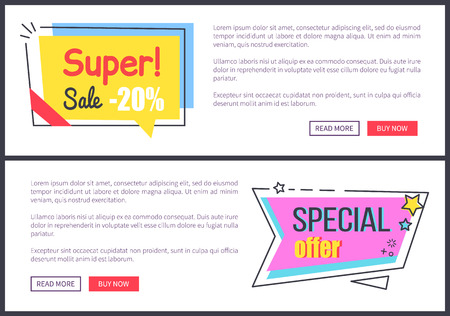 Super special offer promotion on Internet page with sample text and bright stickers with price reduction information vector illustrations set.