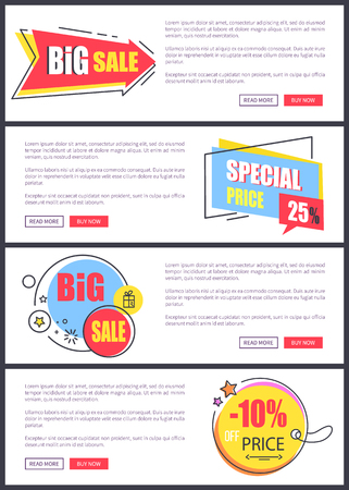 Big sale and -10 off price, web pages with yellow and blue stickers with stars, text and buttons saying read more and buy now vector illustration Illustration