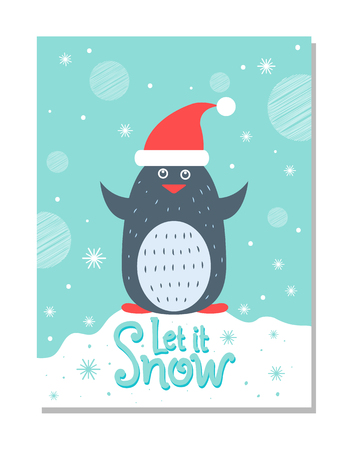 Let it Snow Greeting Christmas Card with Penguin 版權商用圖片