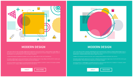 Modern Design of Web Posters with Buttons Vector 스톡 콘텐츠